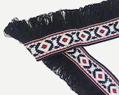 Ethnic Boho Colorful Black Fringe Tassels Trim Ribbon