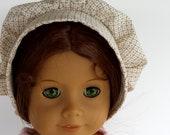 "18"" Doll Clothes fits American Girl - Off White Eggshell Print Cotton Prairie Bonnet"