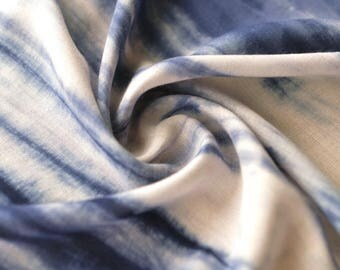 Noil poplin Tie Dye Blue Color Cotton Fabric, Vintage Style, Cotton Fabric 1/2 yard (QT1309)