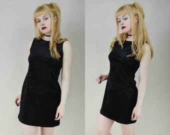 90s Grunge Goth Black Velvet Simple Sleeveless Mini Dress S
