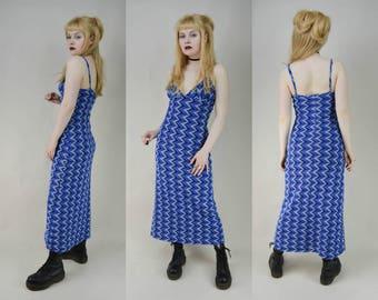 90s Blue Psychedelic Chevron Mesh Triangle Bra Maxi Dress S