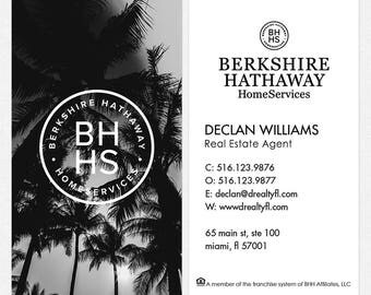 no photo Berkshire Hathaway real estate DELUXE business cards - thick, color both sides - FREE UPS ground shipping