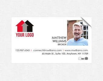 real estate deluxe glossy stickers - business card size - high end - crack and peel - FREE UPS ground shipping