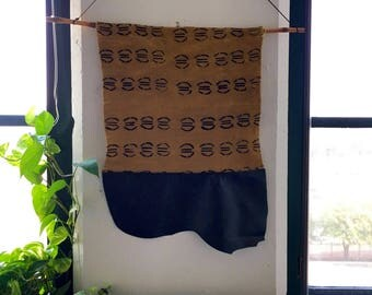 Black Leather & Goldenrod Mudcloth Wall Hanging | Black and Yellow Handcrafted Weaving with Organic Cotton and Bamboo