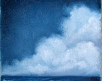 ON SALE Seascape painting, original oil painting, clouds, wall art, ocean, home decor - Stormscape series sixtyfive