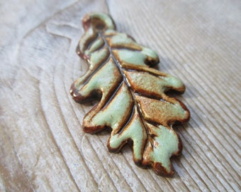 Oak Leaf Pendant   Pottery Clay Artisan