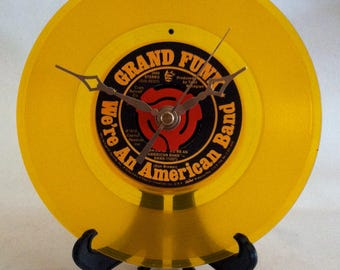 """Record Clock / Recycled GRAND FUNK 7"""" Vinyl 45rpm / We're An American Band"""