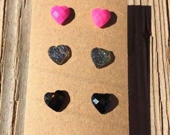 Trio Glitter Heart Set Earrings - Glitter Heart Earrings - Heart Earrings - Valentine's Earrings - Luxie Creations Earrings