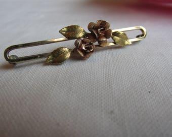 Bar Pin - Krementz - Rose Brooch - Valentine Gift - Vintage