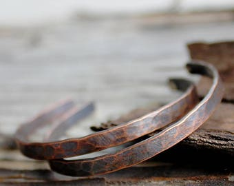Hammered Copper Hoops, Medium Hoop Earrings, Silver and Copper, Rustic Metalwork Jewelry, Dark Patina Hoops, Gift for Her