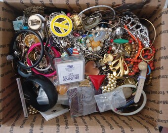 HUGE Lot of Mostly Broken Jewelry and Components for Repurpose, Jewelry Design, Altered Art Projects, Repair, Crafting 12 Lb. 7 oz.