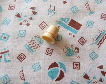 vintage FULL feed sack fabric -- blue and brown children's toys novelty print