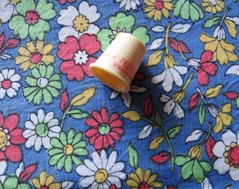 red, yellow, green and blue floral print vintage cotton fabric -- 35 wide by almost a yard
