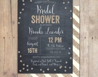 SUMMER SALE Whimsical Gold Metallic Glitter Chalkboard Bridal Shower Invitation Invite Printable OR Printed Card