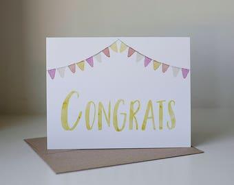 Congrats Card, Congratulations Card, Watercolor Card, Graduation Card, Congrats Cards, Promotion Card, Grad Card, Blank Congrats
