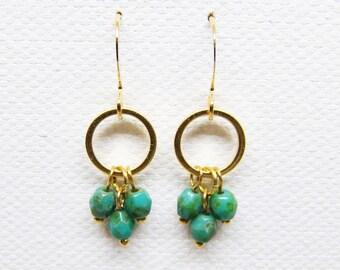 Gold Drop Earrings, Beaded Drop Earrings, Turquoise Drop Earrings, Drop Earrings, Gold Earrings, Beaded Earrings, Turquoise Jewelry