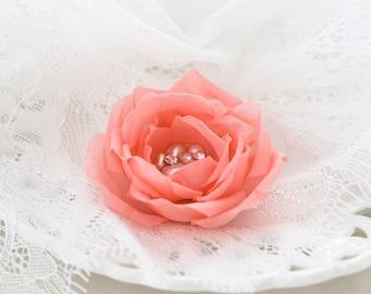 718 Bridesmaid hair accessories, Pink bridesmaid flower, Coral bridesmaid hair clip, Pearls flower hair clip, Floral bridesmaid hair clip