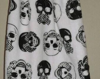 Halloween Crochet Kitchen Hand Towel skulls