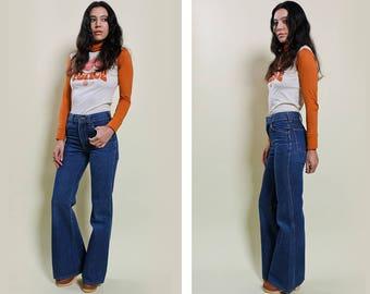 70s Sedgefield Indigo Flare Jeans Size 27/28″ Waist
