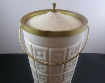 "1960's Retro ""King Size"" Party White Plastic Ice Bucket by Lustro Ware. Wine Chiller. Gold Accents with Swing Handle. Made in the USA."