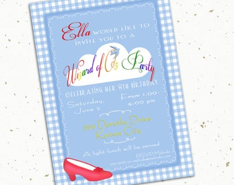 Wizard of Oz Theme Birthday Party Invitation -- 5x7 -- print at home