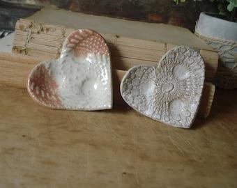 Handmade Pottery Hearts/Pottery Heart/Valentine Heart/Studio Pottery Heart