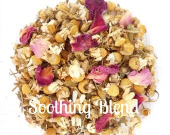 Herbal Tea, Chamomile Rose, SOOTHING BLEND, Hand Blended, Organic, Peaceful, Restful, Sleepy, Caffeine Free, Eco Packaging, Cramp Ease