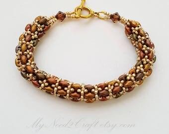 Bronze AB Daydreamer Bracelet (Pattern by Jill Wiseman Design)