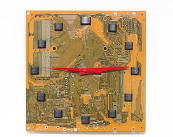 Unique Wall clock, recycled Motherboard clock, yellow / olive green circuit board wall clock - c8272