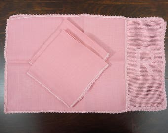 """Elegant Handmade Letter """"R"""" Pair of Linen Placemats and Napkins  Pink Salmon Color"""