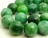 12mm Green Mashan Jade Round Gemstone Beads - 12pcs - Faceted Gemstone Beads - BQ19