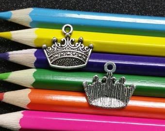 10 PCS - Crown Princess Queen King Silver Charm Pendant C0990