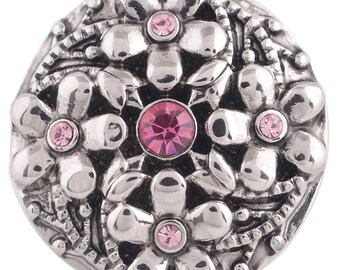 1 PC - 18MM Pink Flowers Rhinestones Silver Charm for Snap Jewelry KC5350 CC3598