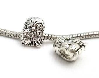 3 Beads -  Owl Bird Animal Mama Baby Silver European Bead Charm E1596