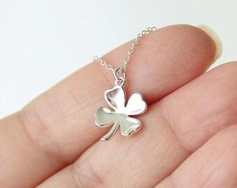 SALE 15% OFF Four Leaf Clover Necklace, Sterling Silver Tiny Four Leaf Clover Necklace, Lucky Clover pendant, Shamrock Necklace, Best Friend