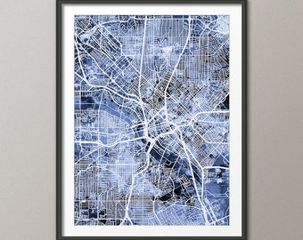 Dallas Map, Dallas Texas City Map, Art Print (2991)