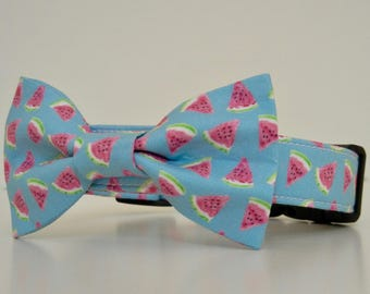 Watermelon Blue Pink Summer Dog Bow Tie Dog Collar Accessories Made to Order