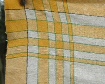 Vintage Yellow Plaid Tablecloth, Country Farmhouse Linen, 52 X 52