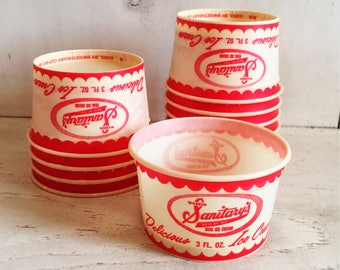 Vintage Paper Ice Cream Cups 3oz. Red and White