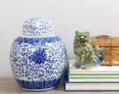 Vintage Ginger Jar Large Blue White Porcelain Chinese Chinoiserie Chic Lidded Vessel