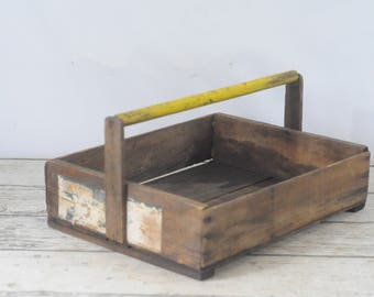 Primitive Vintage Wood Tote Box Fruit Crate Wood Box Gathering Crate Yellow Handle