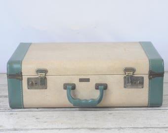 Vintage Large Globester Suitcase Luggage Cream and Blue Green