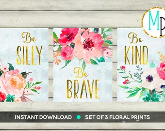 Nursery Wall Art Nursery PRINTABLE Art Baby girl Nursery Decor pink green Gold floral watercolor Nursery Set of 3 prints Nursery bouquet