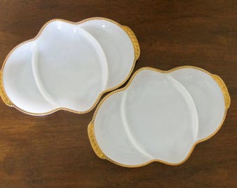 PAIR of Vintage Milk Glass Dishes - Fire King Ovenware with Gold Trim Set of 2