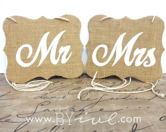 Mr Mrs Chair Sign, Burlap Sign. Rustic Wedding Decor. Shabby Chic. Burlap wedding chair.
