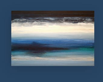 Art, Seascape Painting, Original Abstract, Acrylic Paintings on Canvas by Ora Birenbaum Titled: Midnight Blue 6 24x36x1.5""