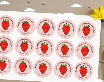 15 x Custom Strawberry Jam canning jar labels, glass Jam jar label, personalised Jam sticker label, personalised Fruit Jam bottle labels