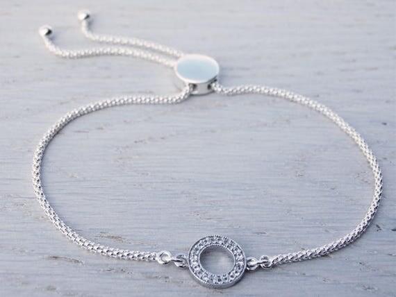Topaz Circle & Sterling Silver Slider Bracelet