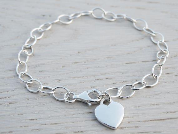 Silver Heart Bracelet, Link Bracelet, Sterling Silver