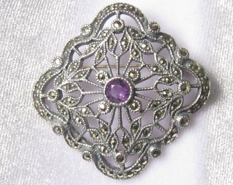 JUDITH JACK Sterling Marcasite & Amethyst Brooch.  Genuine 5 mm Amethyst and Many Pyrite Marcasites..